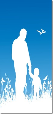 Father and child silhouette in white